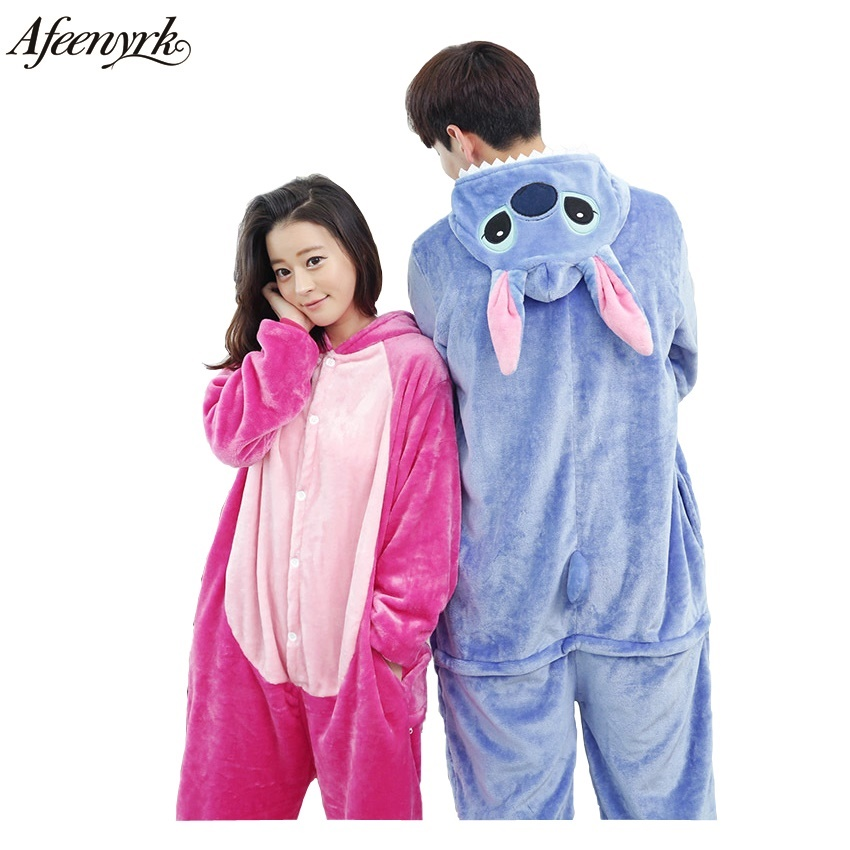 Afeenyrk Wholesale Stitch Adult Pajamas Sets Animal Panda Unicorn Unisex Fashion Flannel For Women Man Clothes Sleepwear