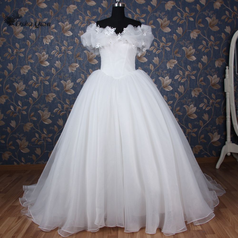 Prinzessin Cinderella Kleider Elfenbein Brautkleider Puffy Organza ...