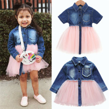 2019 New Toddler Baby Girls Ball Gown Dress Summer Pocket Button Pleated Dresses Bebe Girl Party Cute Tutu Dress Shien Vestidos(China)