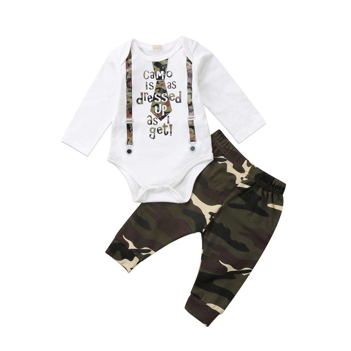 2 шт. для новорожденных для маленьких мальчиков Камуфляжный комплект боди + Брюки для девочек детские осенние комплекты Комплект одежды 0-18 м
