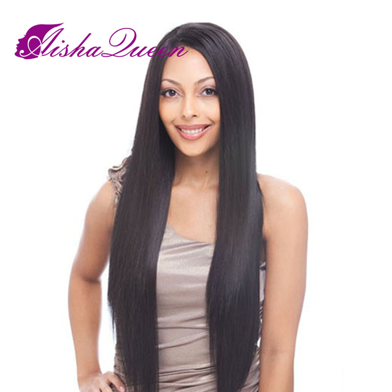 Free Shipping 100% Real Virgin Unprocessed Peruvian Hair Full Lace Wigs 130% Silky Straight With Baby Hair For Black Women