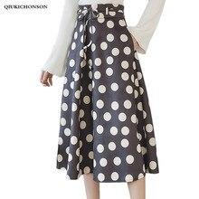 Womens Skirts Spring Autumn 2019 Korean Fashion Elegant Ladies Polka Dot High Waist Vintage A-Line Long Midi saias