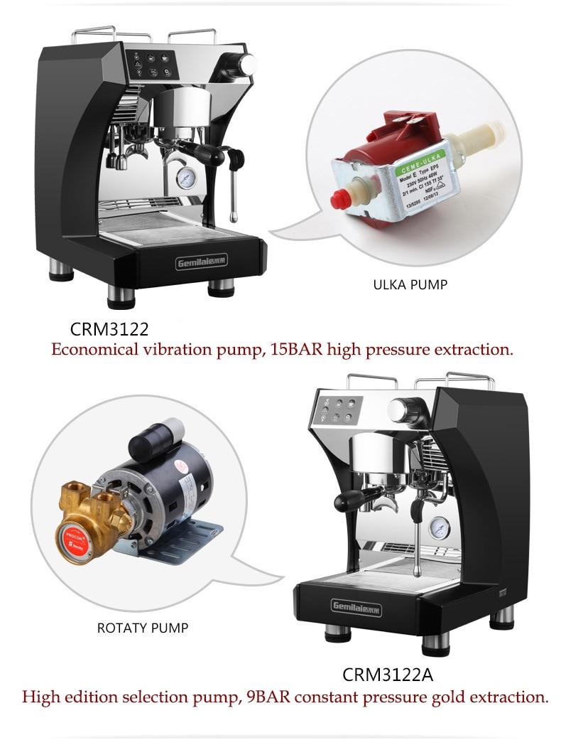 Commercial Italian Coffee Machine Semi automatic Espresso Coffee Cooker 3000w 9Bar 15Bar Milk Frother Pump Coffee Maker CRM3122A in Coffee Makers from Home Appliances