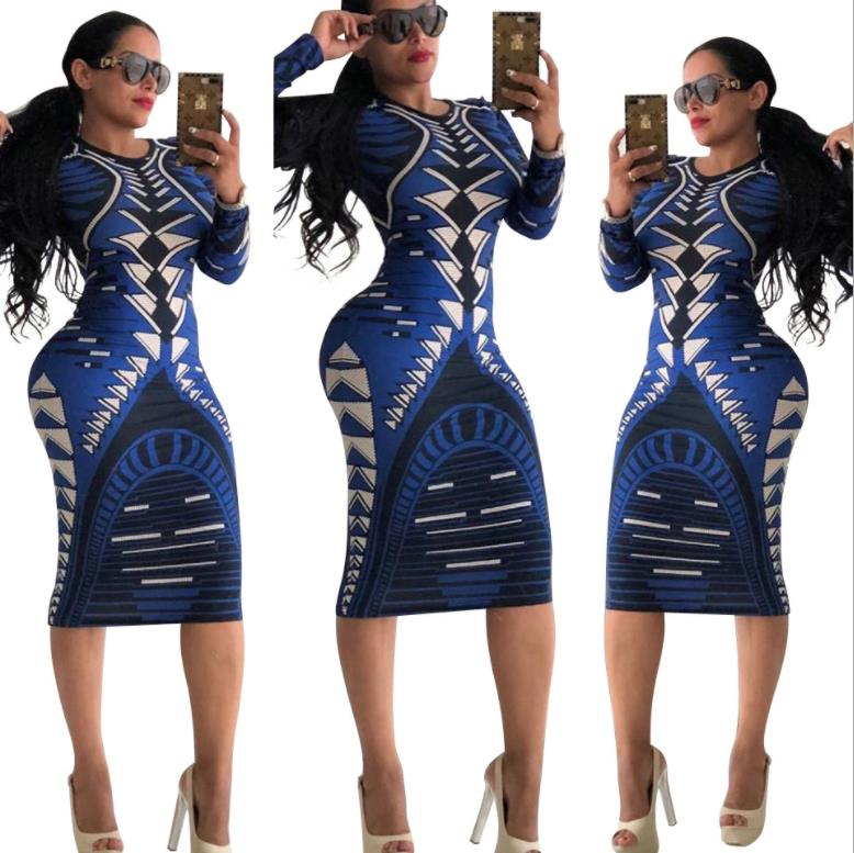 New Arrival 2018 Autumn Dress Women Long Sleeve Print Dress Robe Sexy Slim Bodycon Party Dresses Midi Spandex Dress Vestidos