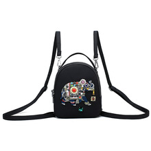 цена на Handmade Embroidery Elephant Small Backpack Women Outdoor Travel Bag New Korean Oxford Cloth Backpack Nylon Black Rugzak Meisje