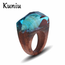 Фотография KUNIU Unique design resin wood rings Shell design jewelry women and mens Wedding ring Dropshipping