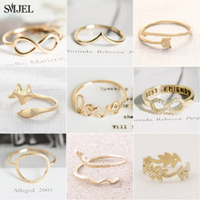 SMJEL Simple Jewelry Fashion Infinity Heart Round Love Letter Rings for Women Wedding Couple Ring Wholesale anillos mujer