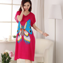 Hot New Fashion Print Butterfly Cotton Sleepwear Women s Short Sleeve Robe  Gown Sexy Lady Nightgown Nightdress One Size 012104 a10e1195a