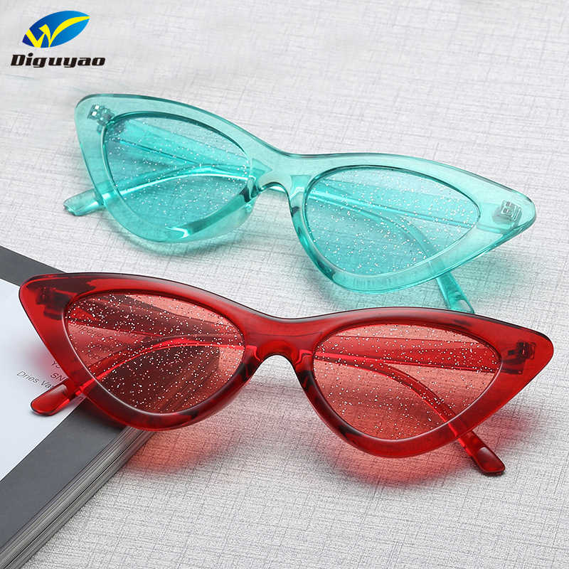 a624aa9d3e5e DIGUYAO Glitter Tinted Lens Sunglasses women Classic kurt cobain glasses  transparent Cat Eye Frame Hippie Sparkly