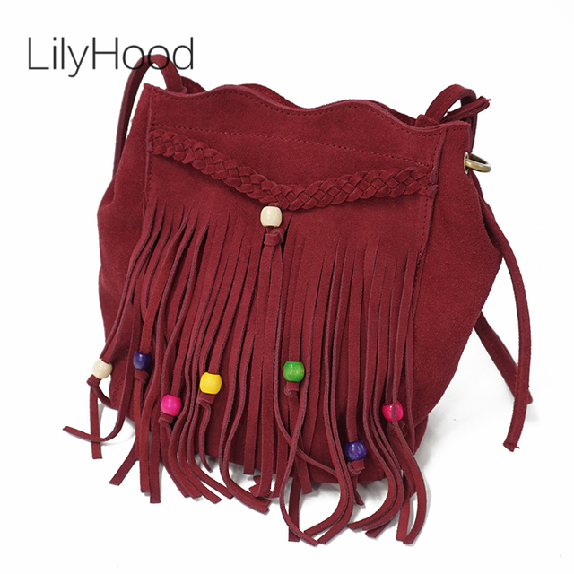 640e88c3e2aaf LilyHood Echtes Leder Fringe Schulter Tasche Fringe Quaste Festival Boho  Chic Indische Hippie Gypsy Tribal Bohemian