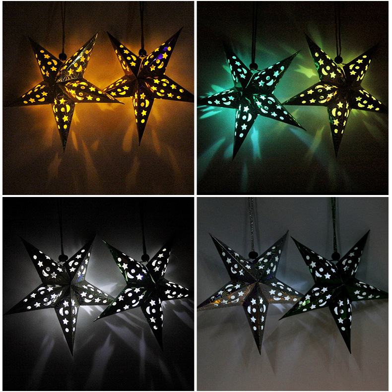 4pcs / Lot 30-60cm LED Star Handle Lanterns Lamp Laser Paper Glow - Varer til ferie og fester - Foto 6