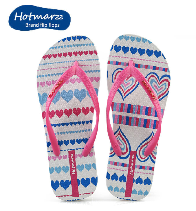 b984c652e320 Hotmarzz 2015 Summer Shoes Beach Flip Flops Colorful Heart Printing VERY  Soft Rubber Sole Slippers Women Flats Thong For Women