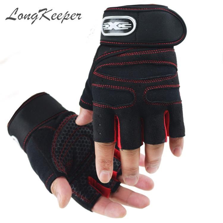 LongKeeper M/L/XL Men Fingerless Gloves Male Non-slip Half finger Gloves Women Sports Fitness Outdoor Guantes Short Mittens Luva
