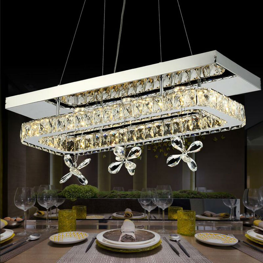 modern luster led crystal chandeliers rectangle stainless steel pendant lamp k9 crystal for. Black Bedroom Furniture Sets. Home Design Ideas