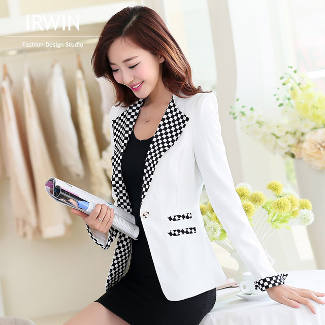 Female blazer outerwear new arrival 2016 spring and autumn plus size plaid long sleeve slim casual blazer women suit jacket