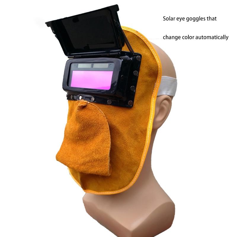 цена Bovine skin welding mask, automatic changing light, heat insulation welding protective hat head mask