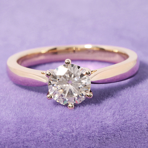 Image 2 - Transgems Solitaire Engagement Ring 14k Yellow Gold 1 carat Diameter 6.5mm F Color Moissanite Engagement Ring For Women Wedding