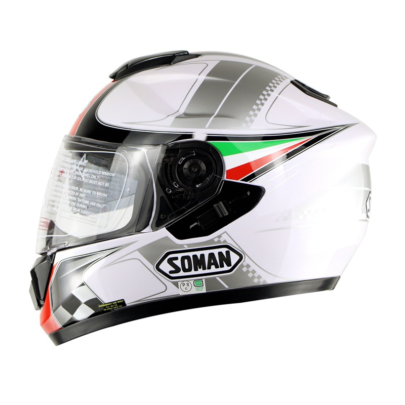 High Grade ABS Motorcycle Helmet Full Face Double Lens Running Helmet Outdoor Riding Safety Electric Vehicle Helmet Size M XL