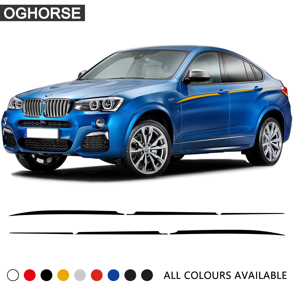 M performance car styling accent stripes side stripe body graphics vinyl waist line decals stickers for bmw x4 f26 accessories
