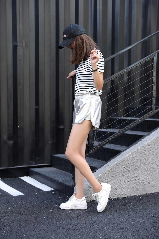 Danjeaner nowy jesień zima kobiety na co dzień srebro Pu skórzane spodenki młodzieży moda damska luźna podział elastyczny pas krótki Femme