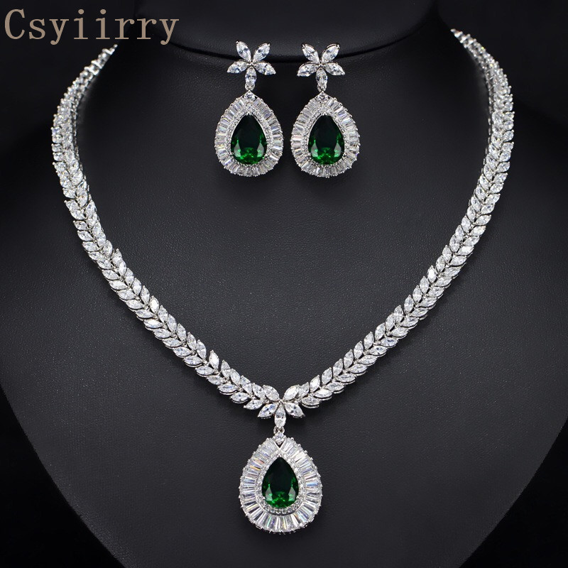 Csyiirry AAA Quality Cubic Zirconia Hypoallergenic Fashion Bride Zircon Necklace Esrrings Set Wedding Engagement Preferred ERT55