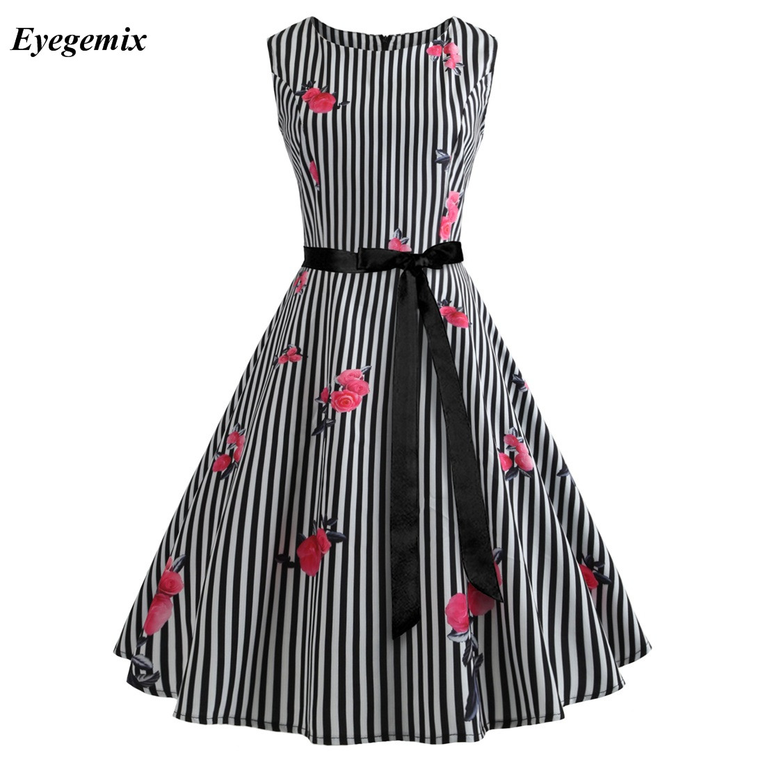 Fashion Party Vestidos Womens Summer Audrey Hepburn Cherry Dress 50s 60s Retro  Vintage Temperament Elegant Casual Dresses 6992ee6a1382