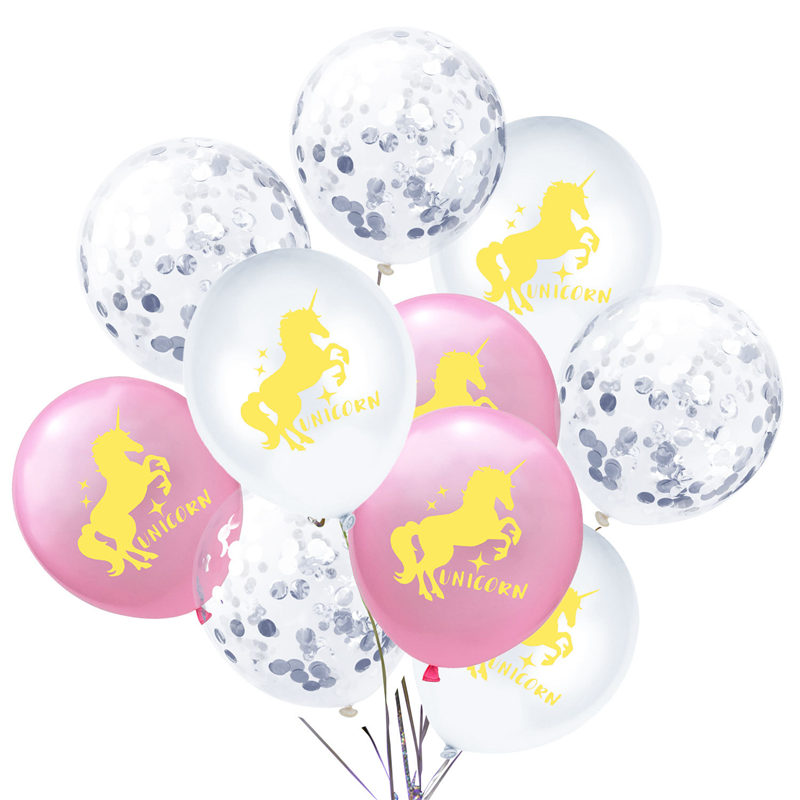 <font><b>10</b></font> PCs Lovely 12 inch Latex Balloon Kids Gift Confetti Horse Printed Ballon Set For Home Bar Nursery Wedding Party <font><b>Decorations</b></font> image