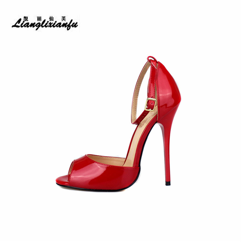 LLXF Plus:40-45 46 47 48 49 50 Ankle Strap Sandals Stiletto 130mm thin heels shoes woman Red dress Pantent Leather Cosplay pumps llxf plus size 40 44 45 46 47 48 49 50 summer stiletto ladies shoes sexy 13cm metal thin high heels sandals woman peep toe pumps