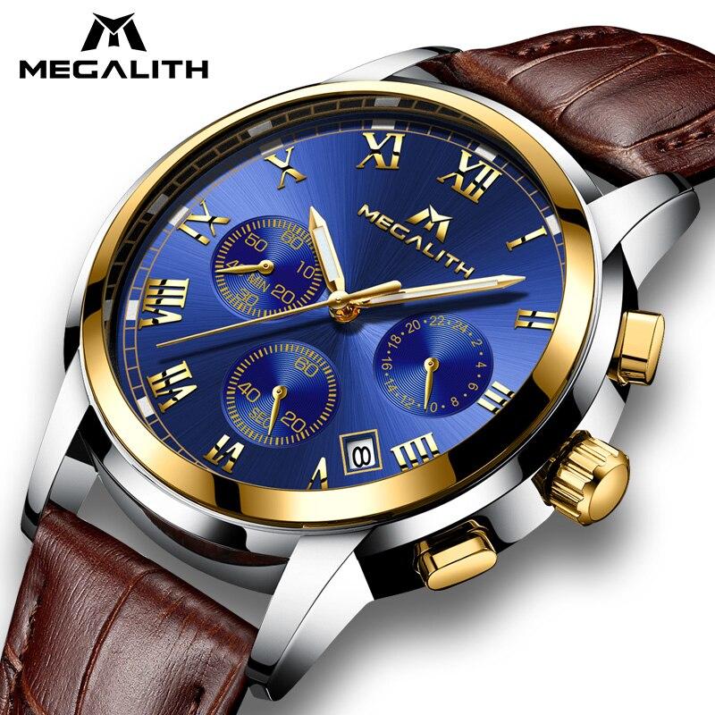 MEGALITH Uhren Männer Sport Wasserdicht Datum Analog Quarz herren Uhren Chronograph Business Uhren Für Männer Relogio Masculino