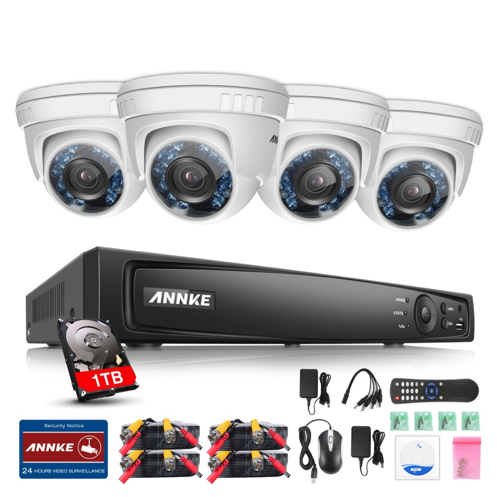 ANNKE 4-Channel HD-TVI 1080p Video Security System DVR with 1TB HDD and (4) HD-TVI 1080p Dome Cameras with IP66 Weatherproof ветрозащита zoom wsu 1 для h1 h2n h4n h5 h6 iq5 q2hd