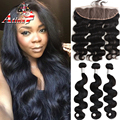 Hot Selling Cambodian Body Wave Virgin Hair Bundles With Lace Frontal Closure 13x4 Full Lace Frontal With 100% Real Human Hair