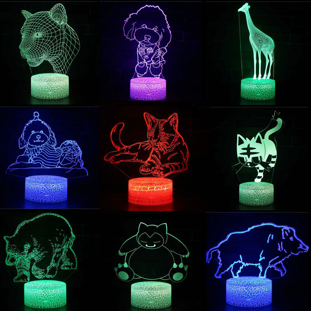 3D LED Night Lights Cat Dog Bear 7 Colors Changeable Hologram Atmosphere Novelty Lamp For Home Decoration Visual Illusion Gift