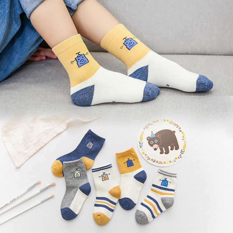 Baby Boy Socks 5 Pairs Children Autumn Winter Cartoon Socks For Girls Kids To School Sport Baby Girl Clothes Baby Socks