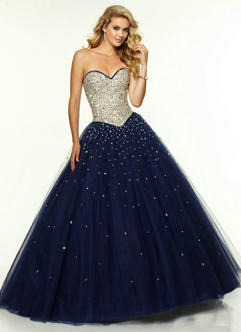 Puffy Tulle Skirt Ball Gown Navy Blue Long Prom Dresses 2016 ...