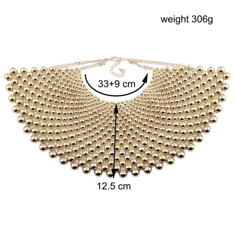 Florosy Maxi Chain Handmade Bead Chunky Big Pendant Necklace for Women Ball Braided Metal Choker Collar Necklace Accessores New