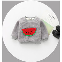Winter Baby Girl and Boy Warm Clothes Cute Cartoon Watermelon Appliques Blouses Toddler Outwear Clothing Kids Solid Color Tops