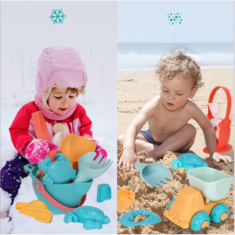Soft Silicone Beach Sand Toys for Children SandBox Set Seasand Bucket Rake Hourglass Water Table Play Fun Shovel Mold with Bag in Beach Sand toys from Toys Hobbies