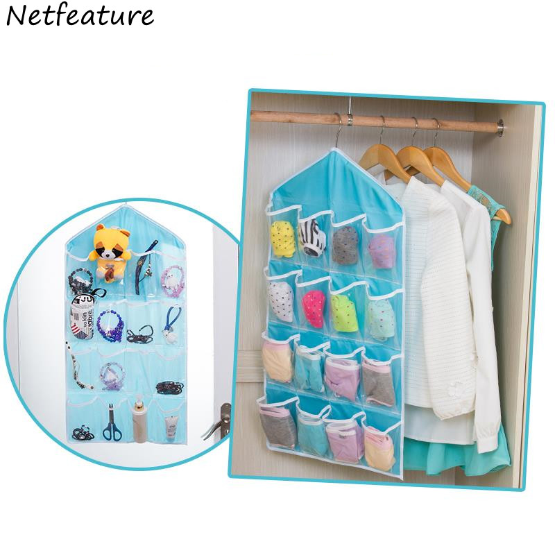Candy Color Organizers Multifunctional Wardrobe 16 Hang Bag Hanging Wall Type Storage Bag  78*42CM