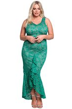 1d03c1fb2e5 Elegant Mermaid plus size White Lace zipper Dress XL Sexy Plus Size Clubwear  Maxi Dress High