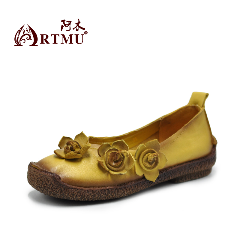 Artmu Original Flower Shallow Mouth Women Shoes Flat Leather Shoes Soft Comfortable Handmade Leisure Shoes 1016 aiyuqi 2018 new genuine leather women s shoes shallow mouth soft nurse shoes comfortable work spring shoes women