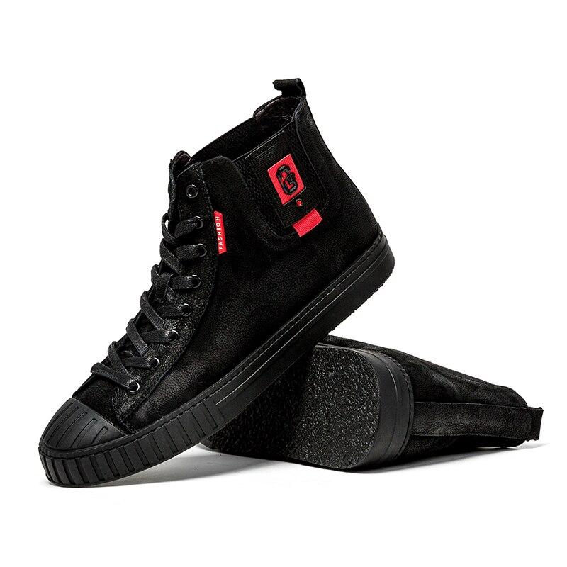 Cuir Top En Hommes Chaussures Mode High Jx5 Cheville Chaud Noir Hiver Véritable Male Boot Moto Casual Botas Automne TFcKl1J3