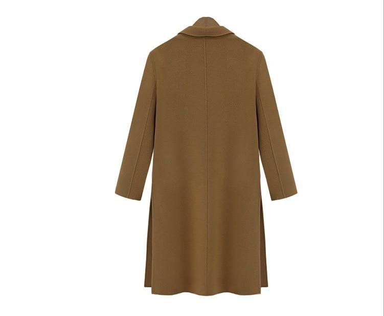 En Long Douille Laine Mode Longue Tout Automne Et camel Chameau Nouvelle Fendu Amtch Manteau Femelle Col Noir Black Hiver Rabattu 2016 qvPTzwW