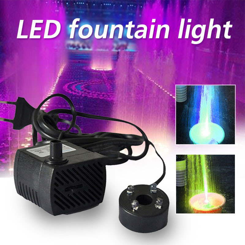 3W AC 220-240V 4 LED Submersible Water Pump For Aquarium Fountain Fish Tank Pond Decoration Led Light Water Pump
