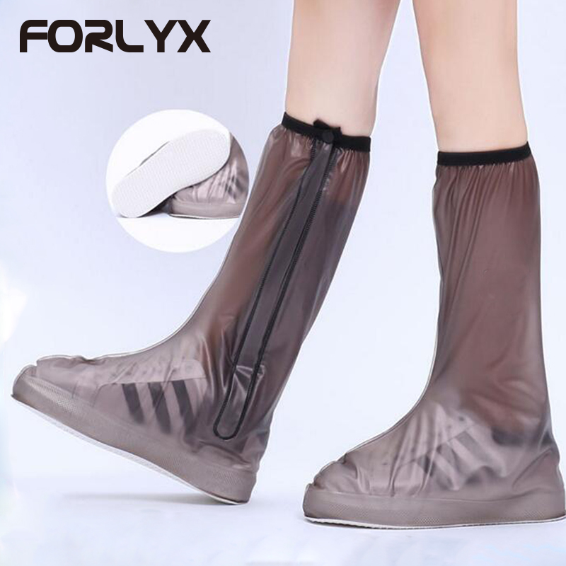 FORLYX High Top Waterproof Shoe Covers Zipper Rainy Day Non-