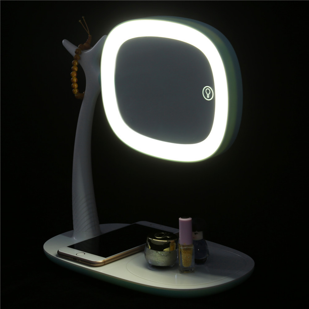 USB Led Makeup Mirror maquiagem double-sided Wireless Charge For Phone LED Touch Screen Amplifier Make Up Mirror Cosmetics Tool usb led makeup mirror maquiagem double sided wireless charge for phone led touch screen amplifier make up mirror cosmetics tool