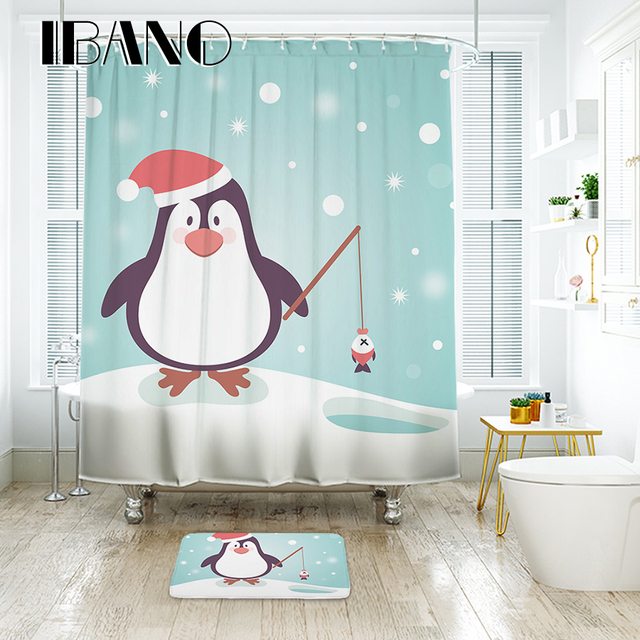 Good IBANO Christmas Penguin Shower Curtain Waterproof Polyester Fabric Bath  Curtain For The Bathroom With 12 Pcs