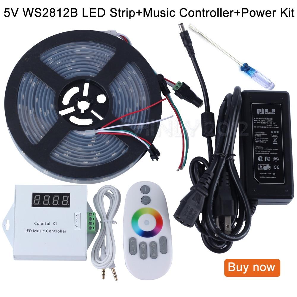 DC5V 5 m/10 m/15 m/20 m 150 leds ws2812b individuellement adressable bande de pixels led étanche + télécommande contrôleur de musique + alimentation