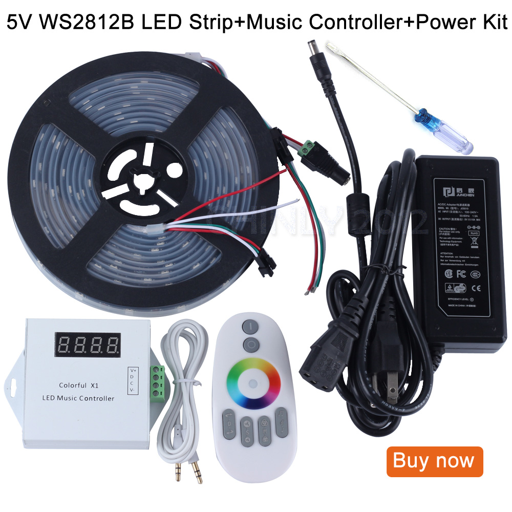 US $57 67 35% OFF|DC5V 5m/10m/15m/20m 150leds ws2812b Individually  Addressable led pixel strip Waterproof+Remote music controller+Power  supply-in LED
