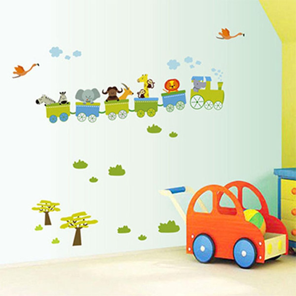 Cute Colorful PVC Removable Cartoon Roller Coaster Pattern Wall Stickers Home Decor For Home Decoration
