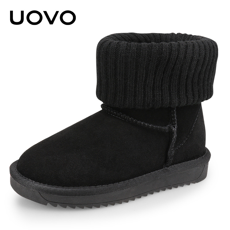 где купить Uovo Girls Winter Boots Size 28-35 Suede Leather Kids Snow Boots Slip-on Warm Shoes Black Grey Brown Flats Children Footwear по лучшей цене